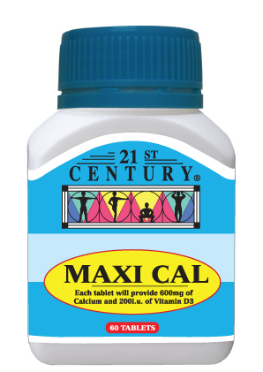 Maxi Cal, 60 tablets, 600mg of Calcium per tablet + Vit D