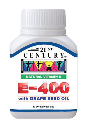 Natural Vitamin E E-400 with grape seed oil